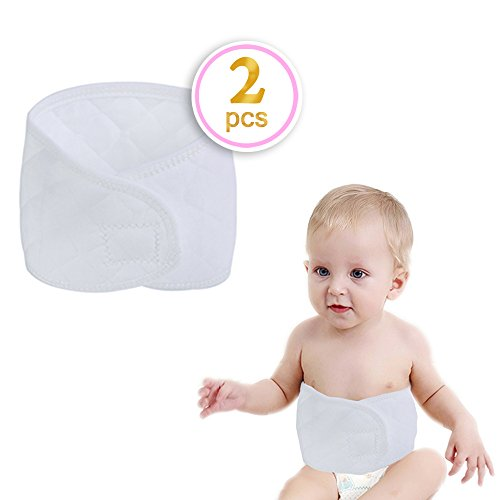 Kosbon 2pcs Baby Infant Pure Cotton Umbilical Cord ,Adjustbale Double Layer Neonatal Umbilical Bellyband Umbilical Hernia Truss.