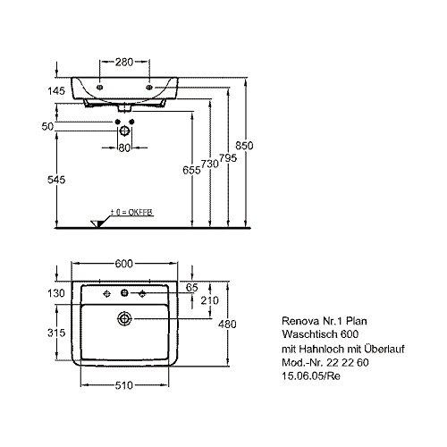 Keramag Renova Nr1 Plan Waschtisch Weiß Keratect 65 Amazonde