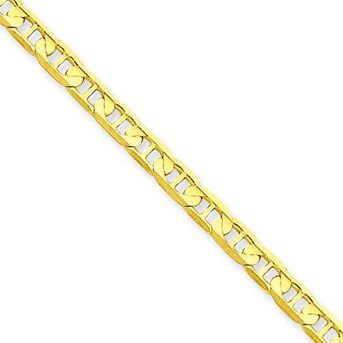 14Ct 3,75 mm concave bracelet chaîne mousqueton jewelryWeb 17,8 cm