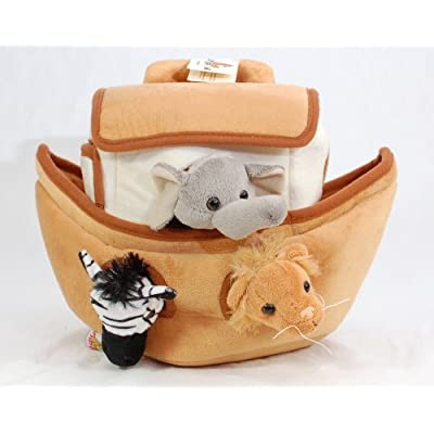 Plush Noah's Ark with Animals - Six (6) Stuffed Animals (Lion, Zebra, Tiger, Giraffe, Elephant, and White Tiger) in Play Ark Carrying Case: Toys & Games