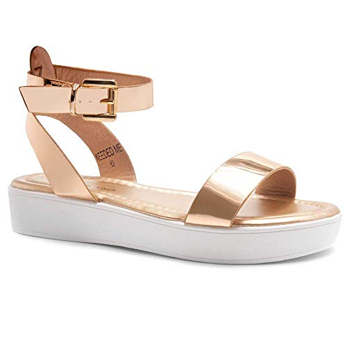 - Herstyle Needed Me Women's Fashion Ankle Strap Buckle Low Wedge Platform Heel Comfortable Sandals Shoes Rose Gold/White 6.5
