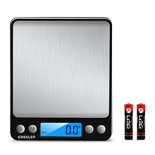 GDEALER Digital Pocket Kitchen Scale 0.01oz/0.1g 3000g Kitchen Food Scale Weight Compact Scale, Tare, Stainless Steel, Backlit Display