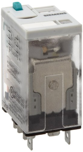 (Siemens 3TX7114-5LC03 Premium Plug In Relay, Square Base, Narrow, Mechanical Flag, Push To Test, Lock Down Door, LED, DPDT Contacts, 20A Contact Rating, 24VDC Coil Voltage)