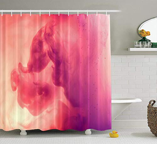 (Colors-in-Water Fabric Shower Curtain, Waterproof Bathroom Shower Curtains Color Cloud Water Smoke Color Liquid Red Neon Purple Fantasy Volcano Orange River 72x78 inches Set of 12Hooks for Bathroom)