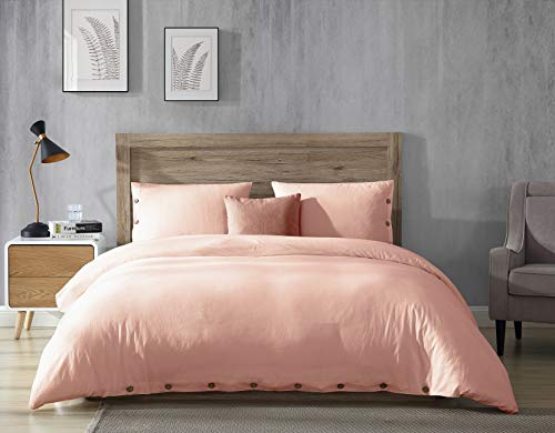 EXQ Home 100% Washed Cotton Pink Duvet Cover Set King Size 3 Pcs, Super Soft Hotel Collection Bedding Vintage Comforter Cover with Button Closure (Hypoallergenic, Breathable)