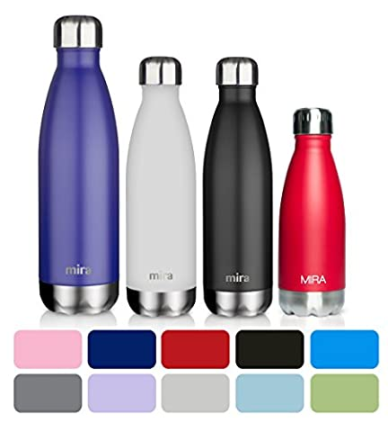 MIRA Stainless Steel Vacuum Insulated Water Bottle | Leak-proof Double Walled Cola Shape Bottle | Keeps Drinks Cold for 24 hours & Hot for 12 hours (Black, 17 oz (500 ml, 0.53 qt))