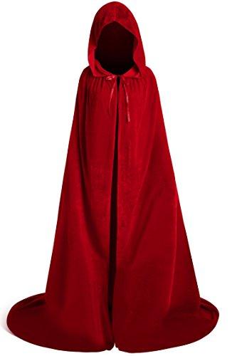 Unisex Halloween Velvet Full Length Hooded Party Cape Cosplay Costume Cloak (84'', Burgundy)