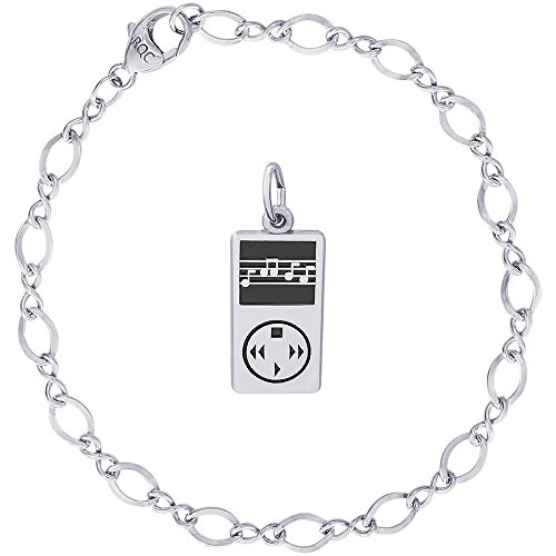 Rembrandt Charms Sterling Silver MP3 Player Charm on a Figure Eight Link Bracelet, (Mp3 Player Charm)