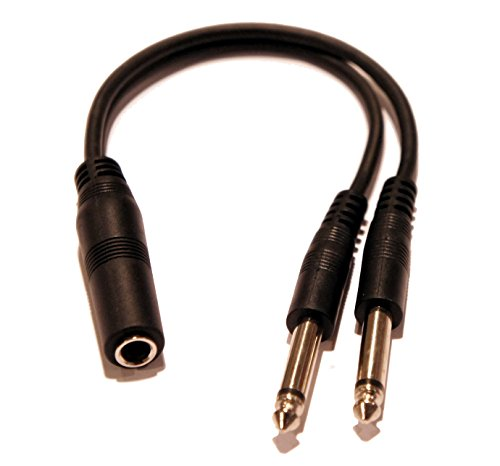 9 Inch Long 1//4 Inch Stereo TRS Female to 2 X 1//4 Inch Male Mono Y Splitter Cable