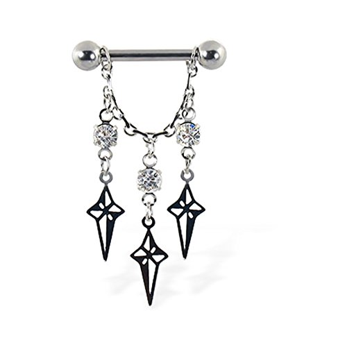 MsPiercing Nipple Ring With Dangling Chain With Stars And Gems, 12 Ga Or 14 Ga, Gauge: 14 (1.6Mm)