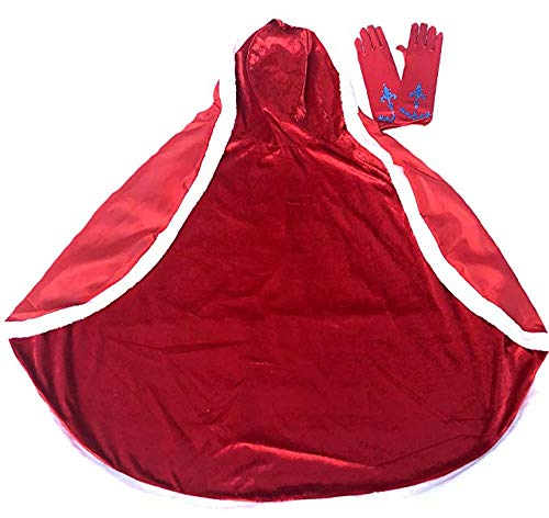 Enchantly Girls Cape - Princess Cape Dress Up Costumes - Fits Age 3-8 (RED)
