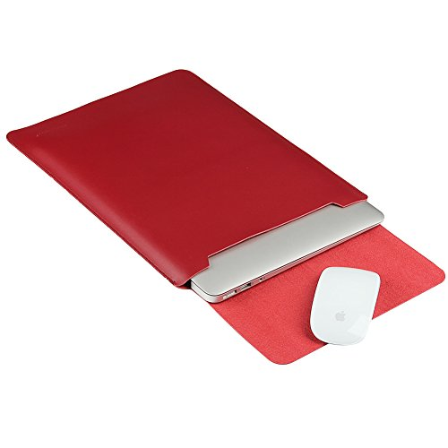 (LAPOND Leather Sleeve Case for 15.4 Inches MacBook Pro with Retina Display,Laptop Case Bag with Mouse Pad (Wine Red))