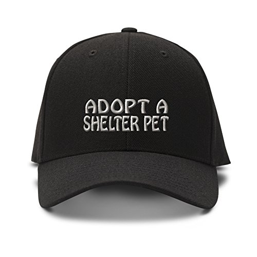 Speedy Pros Adopt A Shelter Pet Embroidered Unisex Adult Hook & Loop Acrylic Adjustable Structured Baseball Hat Cap - Black, One Size