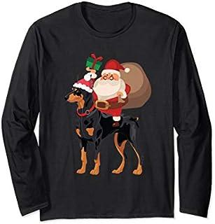 Great GiftSanta Riding Doberman Pajama Long Sleeve Love Funny TShirt