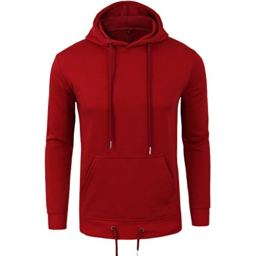 Manwan Walk Men's Pullover Eco Cotton Fleece Hoodie Active Hoodies W140 (X-Large, Red)