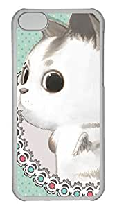 Customized iphone 5C PC Transparent Case - Cute Big Eyes Rabbite Cover
