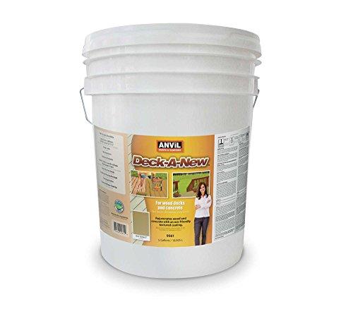 Anvil Deck-A-New Resurfacer Paint, Restores Wood Decks, Porches, Concrete Patios & Pool Decks, Premium Textured, 5 Slip Resistant Colors Available - Butternut, 5 Gallons (Best Deck Cover Paint)