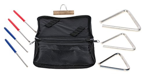 TreeWorks Chimes TRE57BP Made in USA Set of Three Triangles and Beaters with Carrying Case for Storage and Travel ()