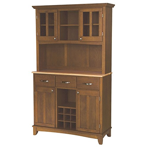 Large Buffet with Two Glass Door Hutch, Cottage Oak with Natural Top, Solid Hardwood, Adjustable Shelf, 3 Drawers, Plexiglas Wood-Framed Doors, Cabinet, Sturdy and Durable + Expert Guide