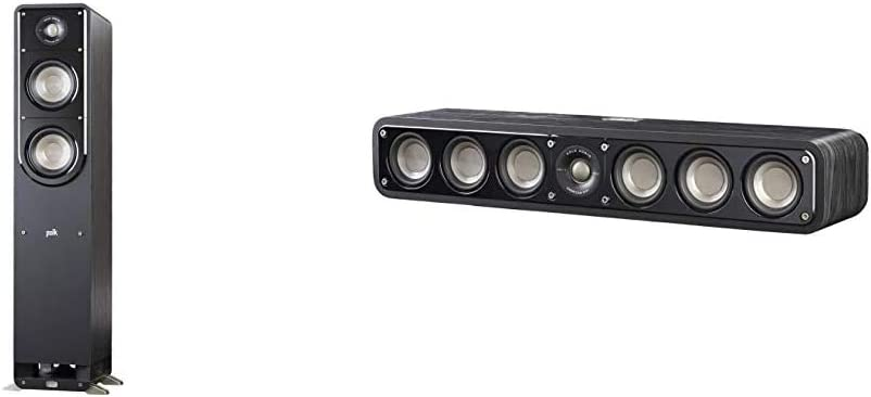 Polk Signature Series S50 Floor Standing Speaker & Audio Signature Series S10 Bookshelf Speakers for Home Theater, Surround Sound and Premium Music | Powerport Technology (Pair),Black