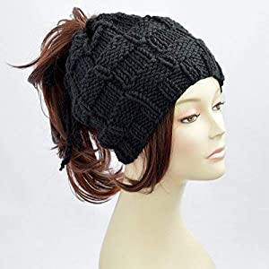 ea4bec2143d Ponytail Hat Black Knitted Hat Womens Hat Ponytail Beanie Bonnet Femme  Beanie With Hole Knit ...