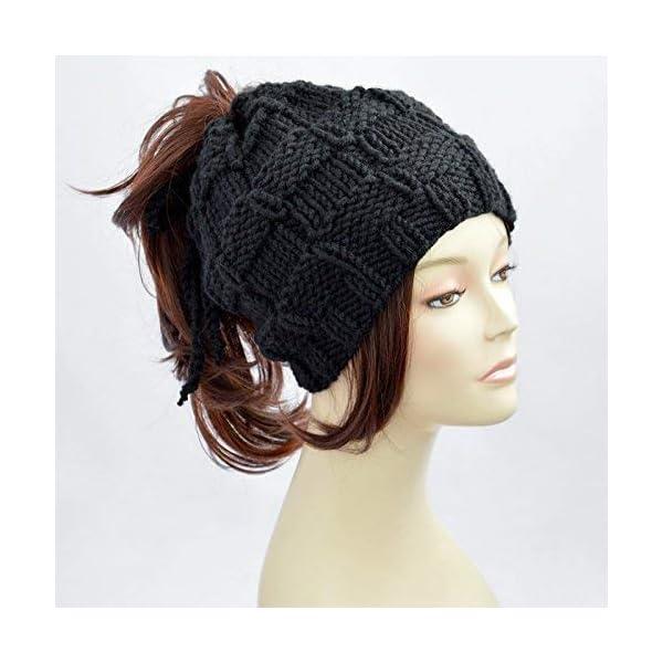 b8a8e90e3 Ponytail Hat Black Knitted Hat Womens Hat Ponytail Beanie Bonnet Femme  Beanie With Hole Knit Hat With Ponytail Hole Beanie With Ponytail Hole  Mütze ...