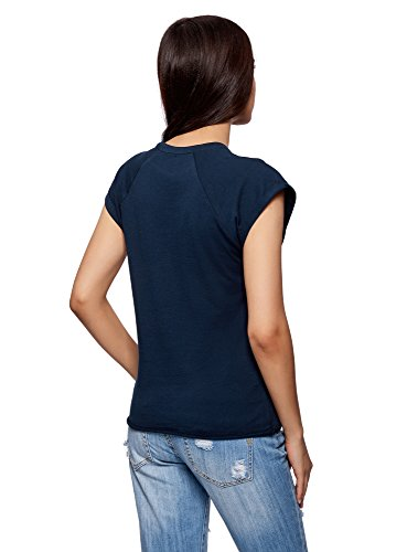 Shirt con Dritta Ultra Basic 7900n Blu T oodji Grezzo Orlo Donna qxXtdwwS1Y