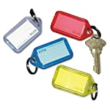 Extra Color-Coded Key Tags for Key Tag Rack, 1 1/8 x 2 1/4, Assorted, 4/Pack (48 Pack)