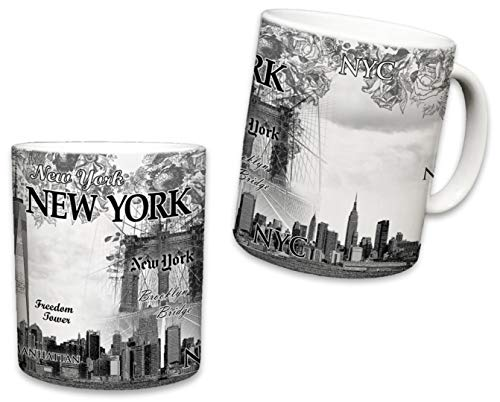 Empire Mug - Sweet Gisele | New York City Mugs | Ceramic NYC Mug | Downtown Manhattan Skyline Coffee Cup | Empire State Building, Statue of Liberty, Brooklyn Bridge | Great Novelty Gift | 11 Fl. Oz (Beige)
