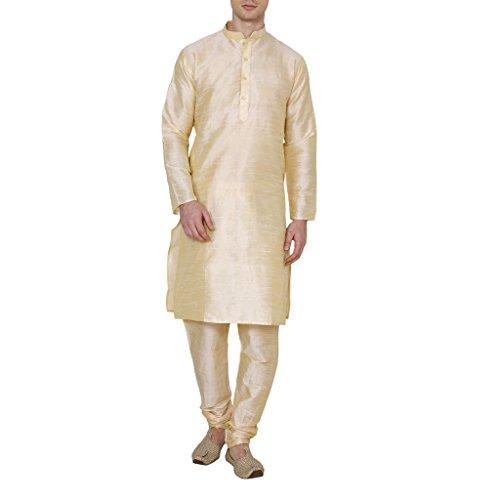 Royal Kurta Men's Occassional Silk Blend Kurta Churidar Set 38 Gold