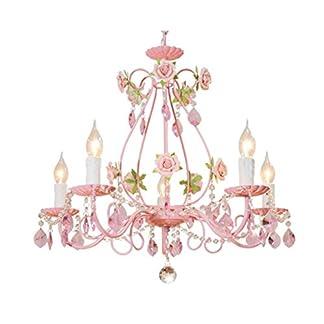 WangLei Lampadario – Lampadario Pink Wedding Illuminazione Pastorale Coreana Iron Rose Soggiorno Sala da Pranzo Illuminazione Camera da Letto per Bambini Lampadario di Cristallo E14