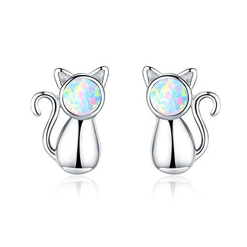 (Cat Earrings Cat Jewelry 925 Sterling Silver Opal Cute Kids Earrings Cat Gift for Women Girls (Cat)