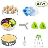 Instant Pot Accessories Set, 8pcs Instant Pot Set for 6 Qt 8 Quart,with Steamer Basket/Non-stick Springform Pan/Egg Rack/Silicone Egg Bites Mold/Egg Beater/Silicone Mini Mitts/Bowl Dish Clip By Aufisi