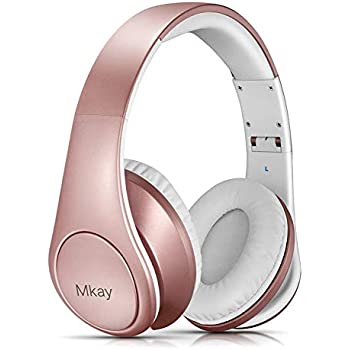 cb6e80d8aab Over Ear Headphones, Mkay Bluetooth V4.2 Wireless Headset with Deep Bass  Microphone Hi-Fi Stereo, Foldable & Lightweight,25H Playtime for Travel  Work TV ...