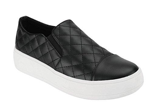 Cambridge Select Mujeres Closed Round Cap Toe Acolchada Stretch Slip-on Flatform Fashion Sneaker Black