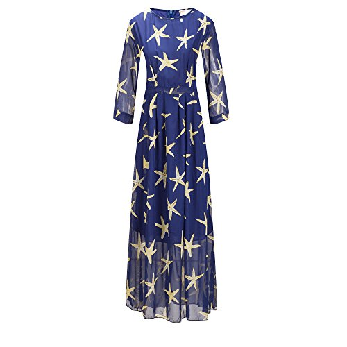 Bewish Sleeve Neck Size Beach Dress Half Starfish Maxi Women's Plus Round Pattern Casual rSAxrFY