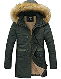 Wantdo Men's Winter Thicken Cotton Jacket With Fur Hood