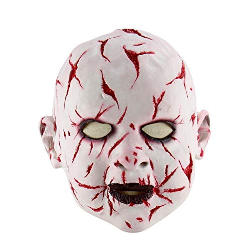 (Buildent - Festival Party Supplies Halloween Latex Mask Horrifying Mask Latex Mask with Hat for Masquerade Halloween Costume Bar Realistic)