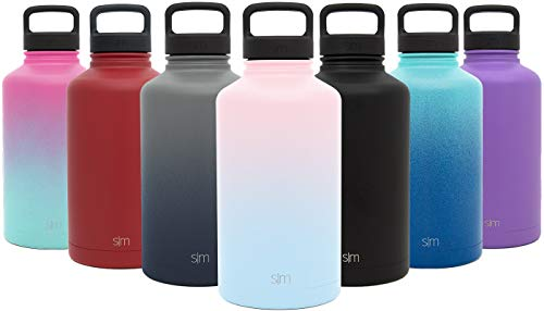 Simple Modern 40 Ounce Summit Water Bottle – Stainless Steel Liter Flask +2 Lids – Wide Mouth Tumbler Double Wall Vacuum Insulated Leakproof Ombre: Sweet Taffy