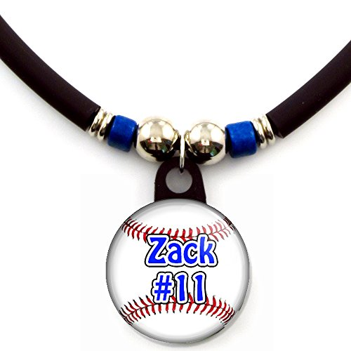 - SpotlightJewels Baseball Blue Personalized Necklace with Your Name and Number