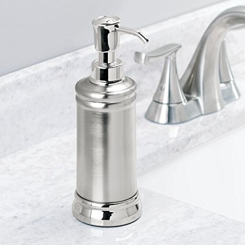 mDesign Liquid Hand Soap Dispenser Pump Bottle for Kitchen, Bathroom | Also Can be Used for Hand Lotion & Essential Oils - Pack of 2, Split Finish