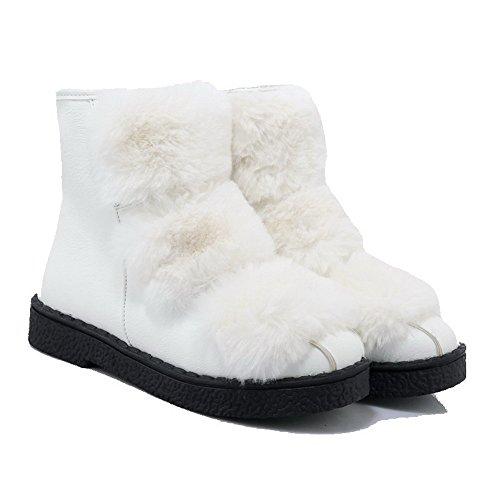 AllhqFashion Womens Low-top Solid Zipper Round Closed Toe Low-Heels Boots White hdz932
