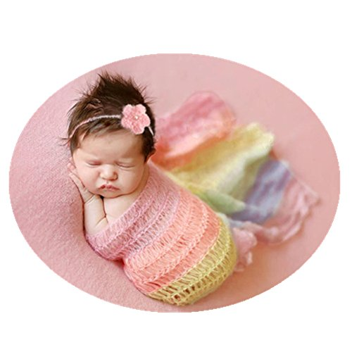 Newborn Baby Photography Shoot Props Outfits Headband Rainbow Tassel Blanket for Boy Girls Photo Props (Style six) by Vedory