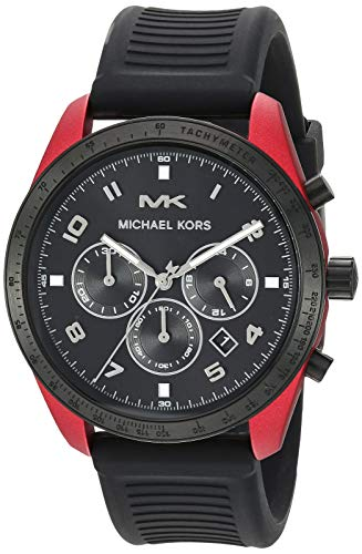 Michael Kors Men's Keaton Stainless Steel Quartz Watch with Silicone Strap, Red/Black, 22 (Red Michael Kors Watch Men)