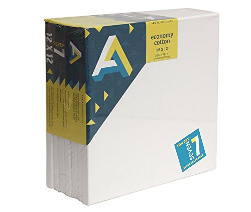Art Alternatives Streched White Canvas Super Value Pack-12 x 12 inches-Pack of 7 by Art Alternatives