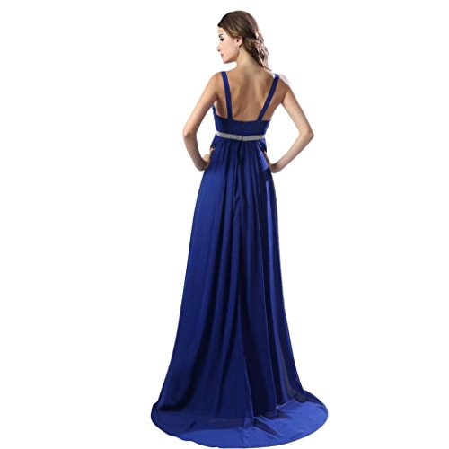 Blue Sweep Sleeveless Dearta Dresses Empire Women's Prom Train Neck Royal V Brush IwXZPHqXp