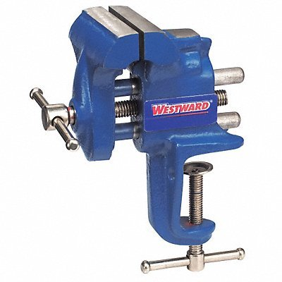 Westward 10D698 Bench Vise, Portable Clamp, Fixed, 2-1/2 In