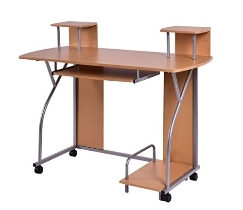 Rolling Computer Desk PC Laptop Desk Pull Out Tray Home Office Workstation US Ship by unbrand