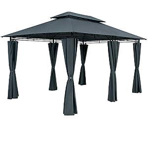 Casaria Cenador Topas Antracita 4x3m Pabellón con Protección UV 50+ Repelente al Agua Carpa de jardín