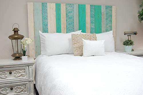 (Serenity Mix Headboard Queen Size, Hanger Style, Handcrafted. Mounts on Wall. Easy Installation)